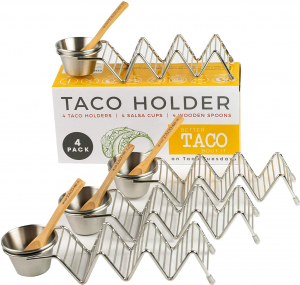 Taco Shell Stand Up Holders - 4 Pack Premium Stainless Steel Oven, Dishwasher Safe Taco Holder, Holds 3 Tacos Each Keeping Shells Neat and Upright